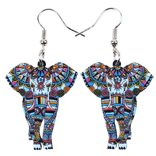 BONSNY Signature Wildlife Collection Sunrise Jungle Safari Wild Elephant Drop Dangle Statement Women Earrings Jewelry (Blue)