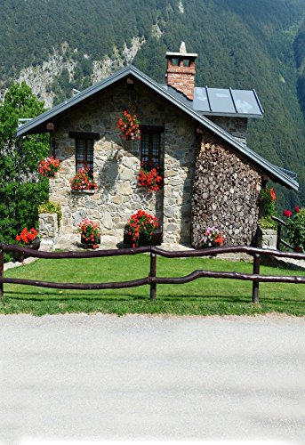 AOFOTO 5x7ft Photography Backdrop Photo Backgrounds Chimney Stone Hut Flowers Fence Lawn Mountain Blurry Floor Child Baby Adult Portrait Vinyl Wallpaper Artistic Outdoor Scene Props for Video - At Legends West Village