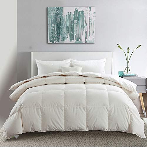 APSMILE Premium All Season Siberian Goose Down Comforter- 1200TC 100% Original Cotton -55Oz Hypoallergenic Medium Warmth Duvet Insert (King, Off-White) (Duvet Loop Cover Organic)