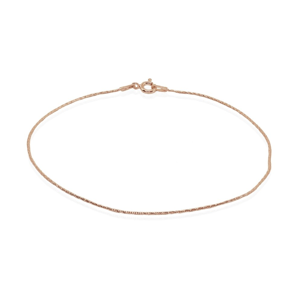 Rose Gold Flashed Sterling Silver Italian Diamond-Cut Snake Chain Anklet, 9mm