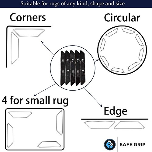 Non Slip Rug Pad Grippers - Rug Gripper for Hard Floor Surfaces; Works Indoor & Outdoor Antislip Anti Skid Anti curling, Keeps Corners Edges Flat; Safer then Rug Tape by Safe Grip - Best 10 pcs pack by Safe Grip by Ucrig-Z FAM (Image #7)
