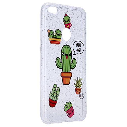 Funda Huawei P8 lite 2017,SainCat Moda Alta Calidad suave de TPU Silicona Suave Funda Carcasa Parachoques Diseño pintado Patrón para Funda TPU Silicona Flexible Ultra Delgado Ligero Goma Case Cover Ca Cactus