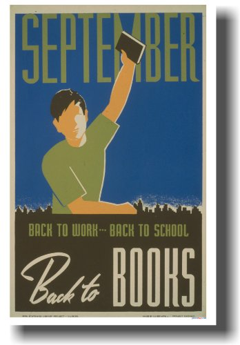 September - Back to Work - Back to School - Back to Books - Vintage WPA Reading Reproduction Poster