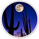"Pixels Round Beach Towel With Tassels featuring ""Moon Over Saguaro Cactus Carnegiea"" by Pixels"