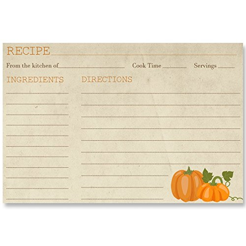 Fall, Recipe Cards, Bridal Shower, Pumpkins, Autumn, Back Side Printed with Lines, Country, Wedding, Housewarming, Size 4x6, 24 Printed Recipe Cards, Pumpkin Harvest