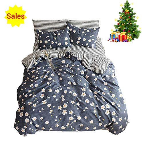 ORUSA Striped Floral Pattern Cotton Reversible Summer Bedding Set with Pillow Sham Child Duvet Cover Set for Kids Teens White Blue Twin,Style b -