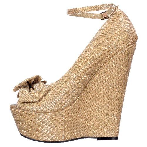 Nude Delle Argento Wedge Signore Cinturino Peep Bow Alla Platform Glitter Scarpe Caviglia Donne Oro Onlineshoe Scuro Oro Toe Viola 4Tx6Sn