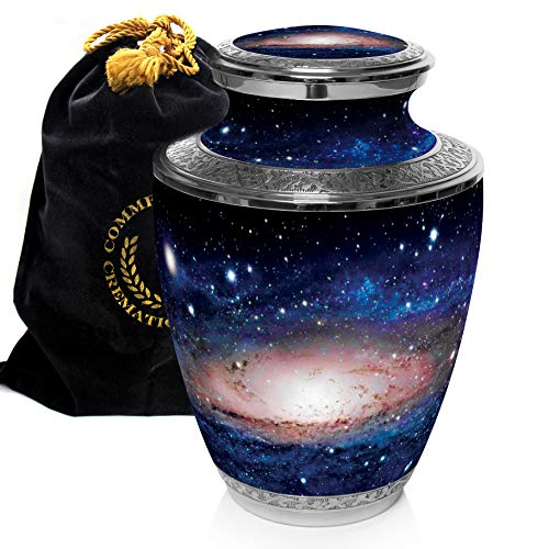 Milky Way Cremation Urns for Adult Ashes for Funeral, Niche or Columbarium, 100% Brass, Cremation Urns for Human Ashes Adult 200 Cubic inches (Milky Way, - Brass Urn Adult