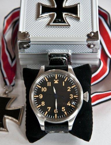 B-UHR BIG PILOT 55 mm watch,stainless steel, brand new in box + warranty card! (black)