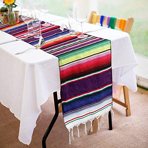 14 x 84 inch Mexican Table Runner for Mexican Party Decorations Wedding Supplies, Cotton Mexican Serape Table Runner -