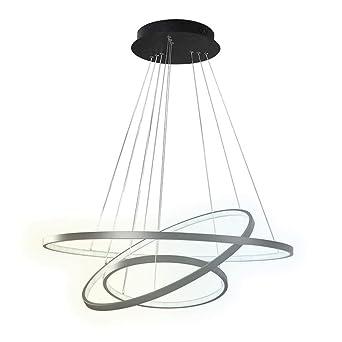 Abat Salle Ring Éclairage Led Circulaire Conception Suspension À Suspendue Acrylique Métal Manger 3 Jour Noir Lumière Suspendu Élégant Moderne BrWdexoC