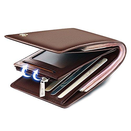 (LAORENTOU Men's Genuine Leather Wallet Clutch Wallets Purse Card Holder with Zipper Pocket (BROWN))