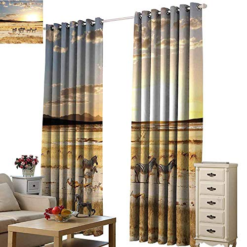 (S Brave Sky Thermal Insulating Blackout Curtain,Single-Sided Printing Pattern W72 xL84,Suitable for Bedroom Living Room Study, etc.)