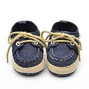 Voberry® Newborn Baby Boys' Premium Soft Sole Infant Prewalker Toddler Sneaker Shoes (0~6 Month, Dark Blue)
