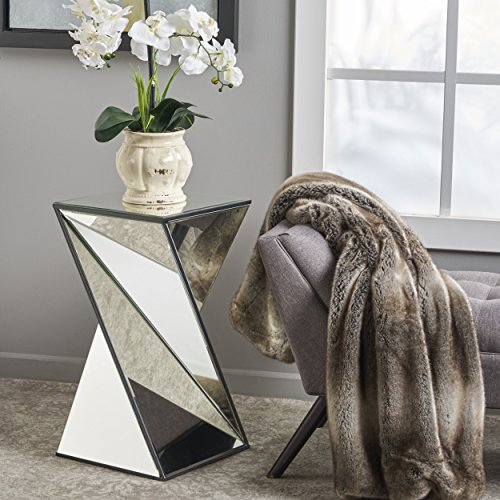 Great Deal Furniture 302289 Amy Geometrical Mirrored Side Table, Clear (Mirrored Dining Table Room)