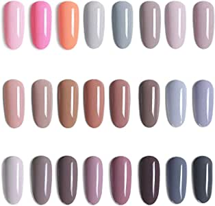 Vishine 24 Colors Gift Set Gel Nail Polish Kit Soak Off UV LED Nail Gel Nude Grey Pink Color GelPolishes Nail Art 8 ML/PC Pack of 24 Pretty Colors Series Kit