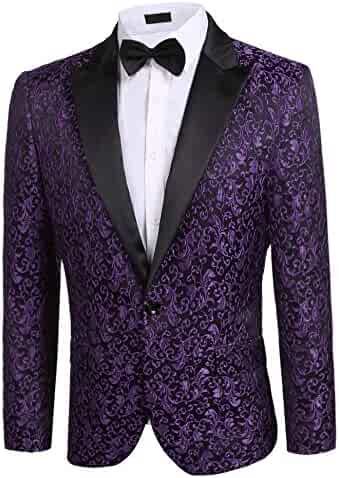 20cfc79b6a4 Men s Casual Slim Fit Floral Party Dress Suit Stylish Dinner Jacket Wedding  Blazer