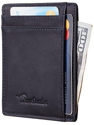 Travelambo RFID Front Pocket Wallet Minimalist Wallet Slim Wallet Genuine Leather(crazy horse deep ()