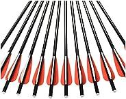 """14"""" 16"""" 18"""" Fiberglass Arrow Crossbow Bolts 3"""" TPU Vane Flat Aluminum Nock Shoot Hunting B"""