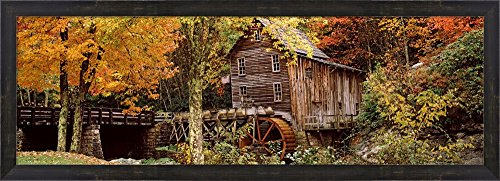 Glade Creek Grist Mill, Babcock State Park, West Virginia, USA by Panoramic Images Framed Art Print Wall Picture, Espresso Brown Frame, 38 x 14 inches