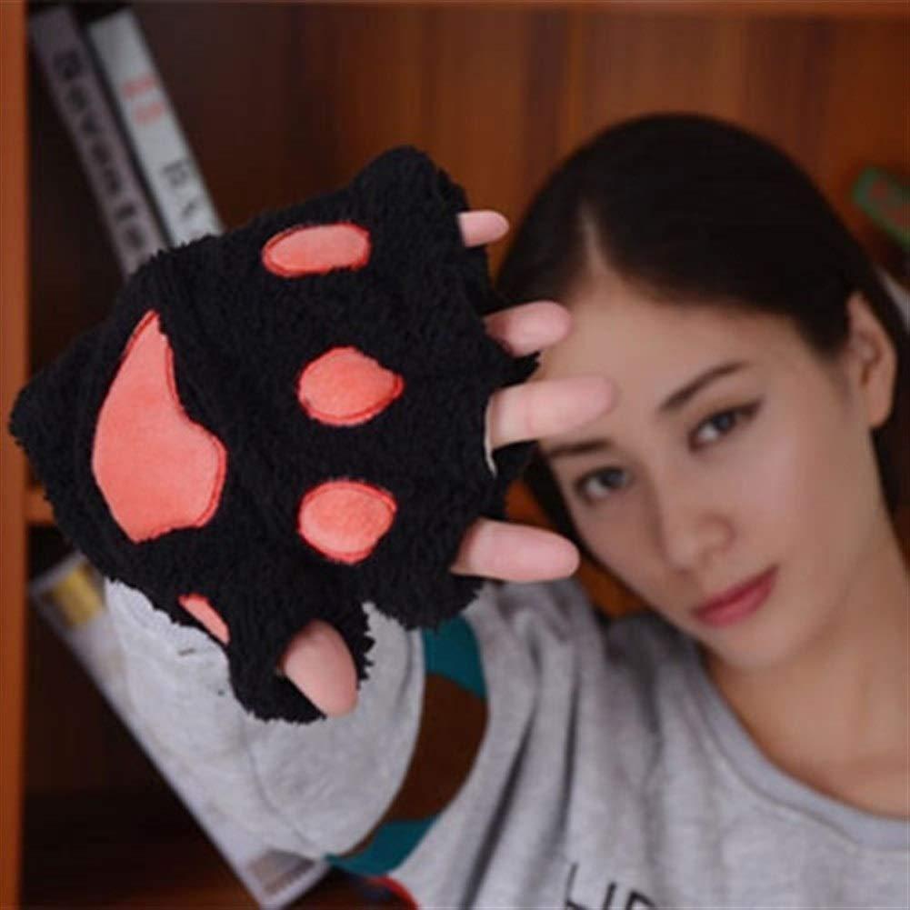 LAOGUAISHOU Frauen Nette Katze Klaue Pfote Pl/üsch Handschuhe Warme Weiche Pl/üsch Kurze Fingerlose Flauschige B/är Katze Handschuhe Kost/üm Half Finger Schwarz Beige