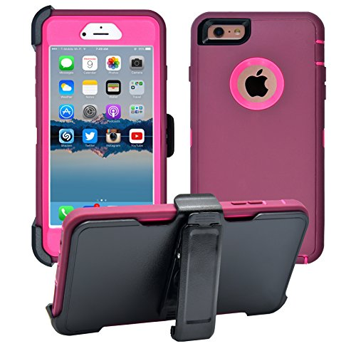AlphaCell Cover Compatible with iPhone 6 Plus / 6S Plus (ONLY) | 2-in-1 Screen Protector & Holster Case | Full Body Military Grade Protection with Carrying Belt Clip | Shock-Proof Protective