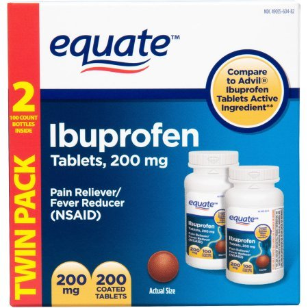 Equate Ibuprofen Pain Reliver/Fever Reducer 200 mg  100 Coated Tablets in (2 Pack) - Good Sense Ibuprofen