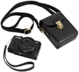 Protective Leather Camera Case Strap - Digital Compact Point and Shoot Camera Bag with Straps Powershot G7X Mark ii, G9 (Black Leather)