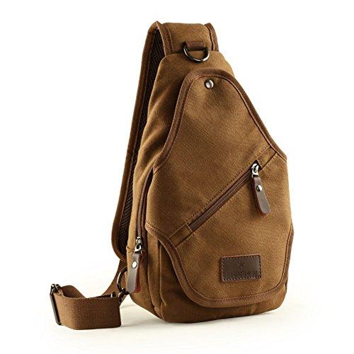 Sincere® paquete ocasional pecho / deportes al aire libre bolsa de mensajero / hombro cruzada paquete / pequeña mochila-Brown masculino 1