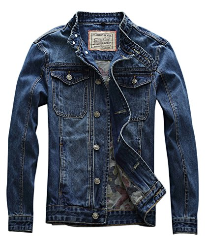 Idopy Men`s Motorcycle Slim Fit Distressed Biker Jean Denim Jacket US M(Tag XL) 671