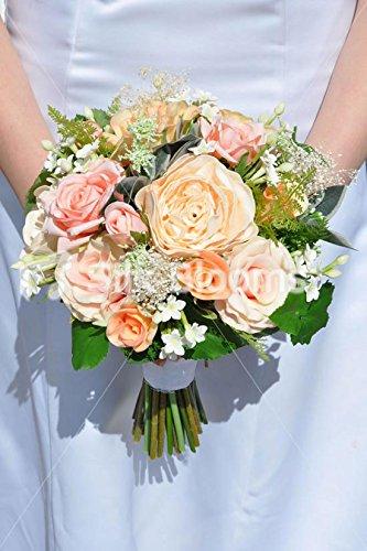 Artificial Pale Peach Fresh Touch Rose & Stephanotis Bridal Bouquet