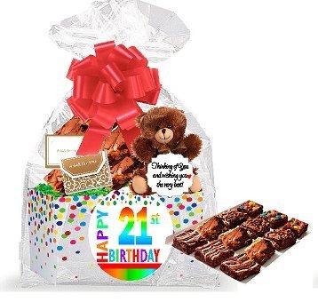 21st Birthday / Anniversary Gourmet Food Gift Basket Chocolate Brownie Variety Gift Pack Box (In ...