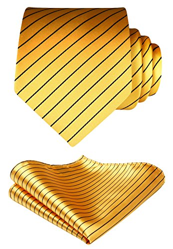 Set Handkerchief Black Stripe Wedding BIYINI Tie Square Pocket Gold Party amp; Men's Necktie vOfwq6Tx