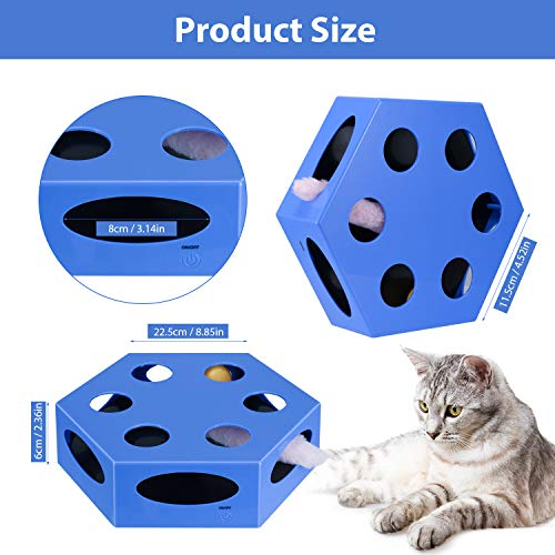 WingPet Interactive Cat Toys - Automatic Cat Exercise Teaser Toy with Worm Tail & Catnip Ball Random Rotating, Pet Kitten Toys for Entertainment Play (Auto Off Timer, Battery Included) 7