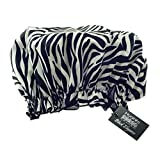 Hydrea London Eco Friendly PEVA Shower Cap, Zebra Print (PACK OF 6)