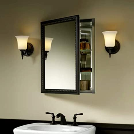 Amazon Com Cabinet Bathroom Single Mirrored Swing Aluminum Door
