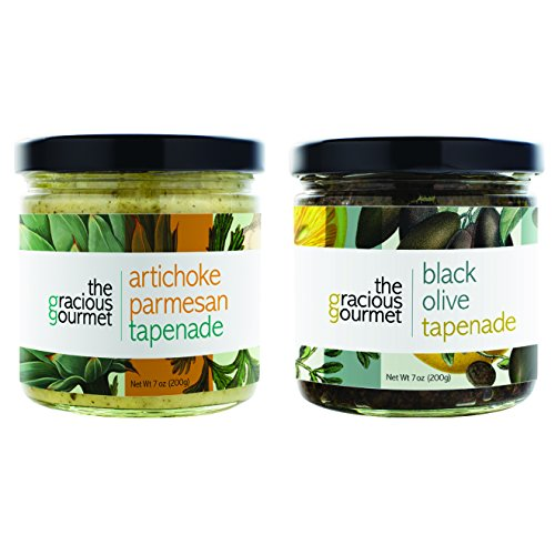 The Gracious Gourmet Tapenade Duo, Black Olive and Artichoke Parmesan , 14-Ounce made in New England