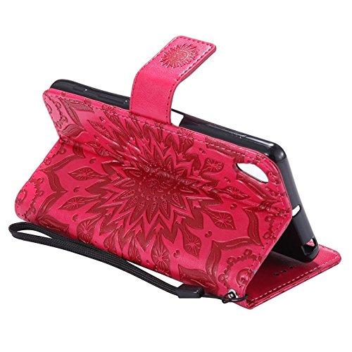 YHUISEN Sony X caso, diseño de la impresión de la flor del sol Caja de cuero de la PU de la PU del tirón del acollador de la PU con la ranura para tarjeta / el soporte para Sony Xperia X ( Color : Ros Red