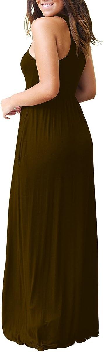 ZiXing Mujeres Verano Vestido Casual Largo Maxi Sin Mangas Fiesta Playa Sundress con Bolsillos