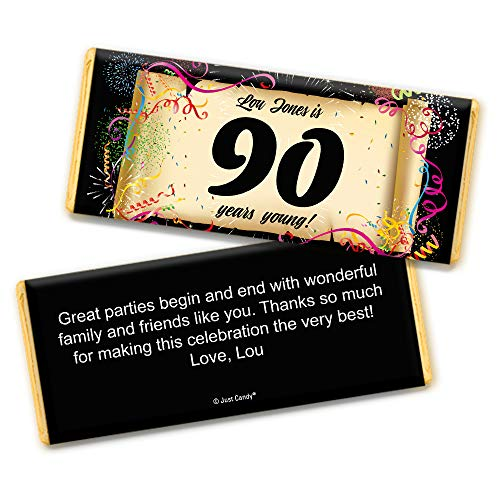 90th Birthday Party Favors Personalized Wrappers for Hershey's Chocolate Bars (25 Count) ()
