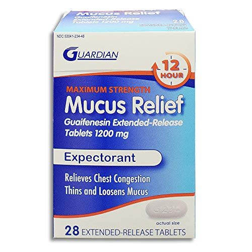 - Guardian Mucus Relief 12 Hour Extended Release Guaifenesin, Chest Congestion Expectorant Tablets (28 Count, 1200mg)