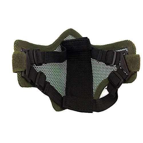 Ecloud Shop® Tactical Airsoft Masque Visage Striker Acier Métal Mesh Bas Demi-Masque 4