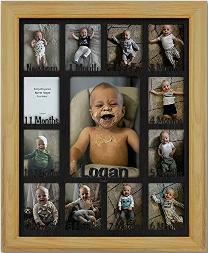 Northland Baby First Year Personalized Frame - Holds Twelve 2.5'' x 3.5'' Newborn Photos and 5'' x 7'' One Year Picture, Oak Frame, Black Insert, Customizable with Any Name by Northland Frames