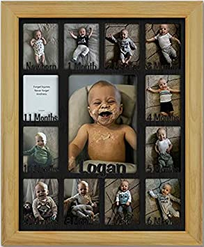 Northland Baby First Year Personalized Frame Oak Frame Holds Twelve 2.5 x 3.5 Newborn Photos and 5 x 7 One Year Picture Black Insert Customizable with Any Name