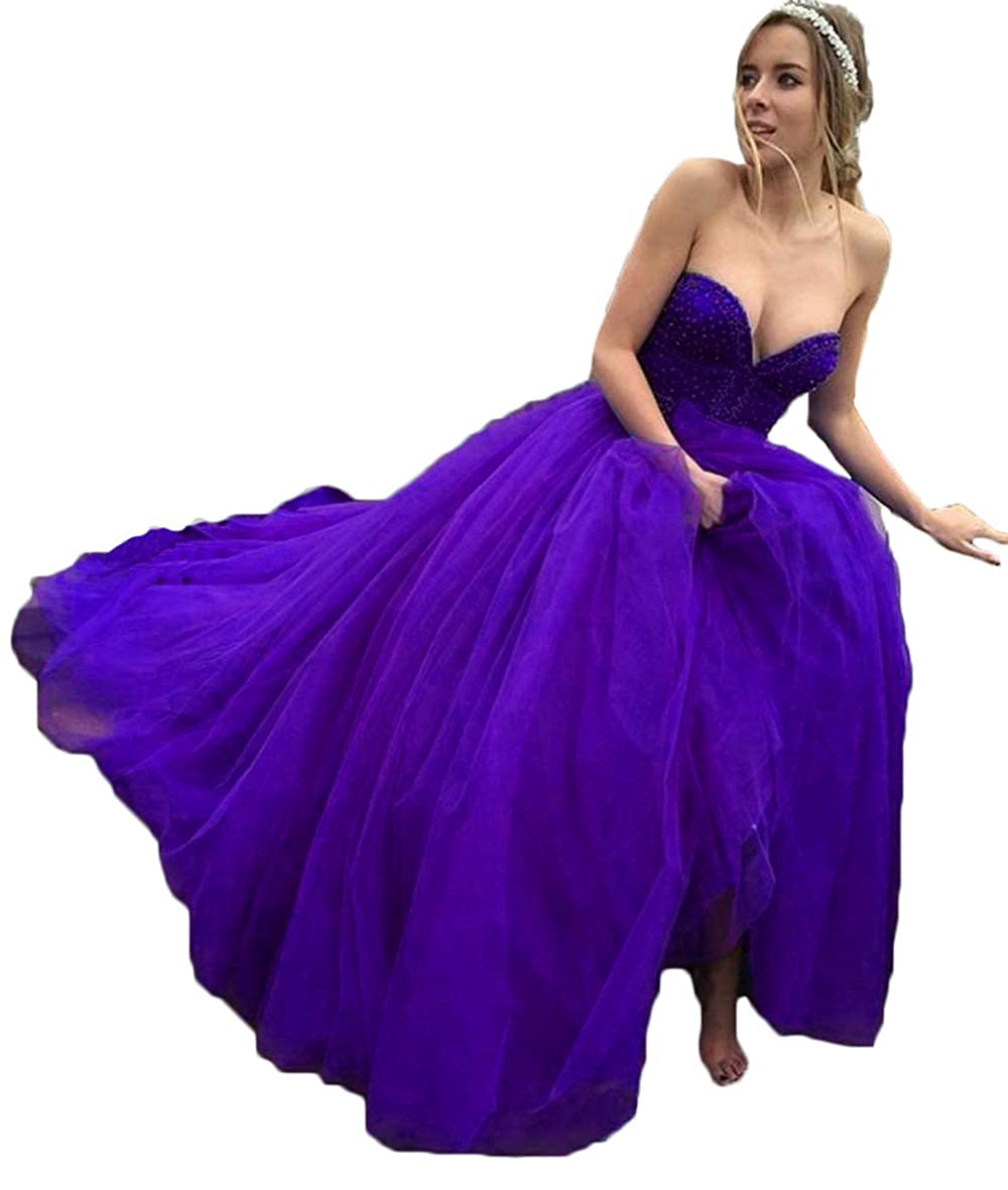 Purple alilith.Z Sexy Sweetheart Prom Dresses Beaded Puffy Tulle Princess Quinceanera Dresses Party Gowns for Women