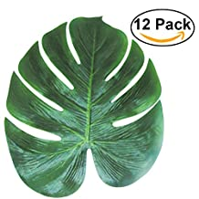 Artificial Tropical Palm Leaves Simulation Leaf Tinksky Hawaiian Luau Party Jungle Beach Theme Party Decorations, 35x29cm pack of 12