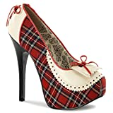 Women's Bordello Teeze-26 Hidden Platform Pump Red 8