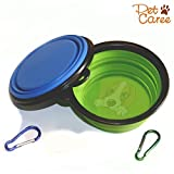 Travel Dog Bowl, Collapsible Pets Travel Bowl 2-Pack For Food & Water Portable Food Bowls for Dogs &Cats with Chip High Grade Silicone