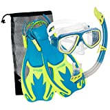 Cressi ROCKS SET, Kids Set (Mask, Snorkel, and Fins) for Snorkeling and Swimming - Cressi: Quality Since 1946