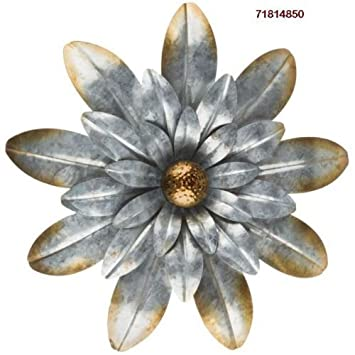 Amazon.com: Rustic Silver Flower Galvanized Metal Wall Decor: Home ...